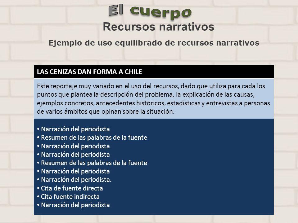 Ejemplo de uso equilibrado de recursos narrativos LAS CENIZAS DAN FORMA A CHILE Este reportaje muy variado en el uso del recursos, dado que utiliza pa