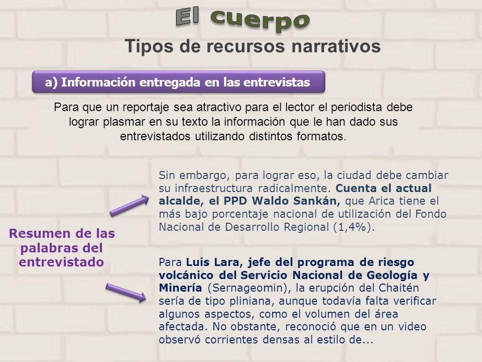 Tipos de recursos narrativos a) Información entregada en las entrevistas Para que un reportaje sea atractivo para el lector el periodista debe lograr