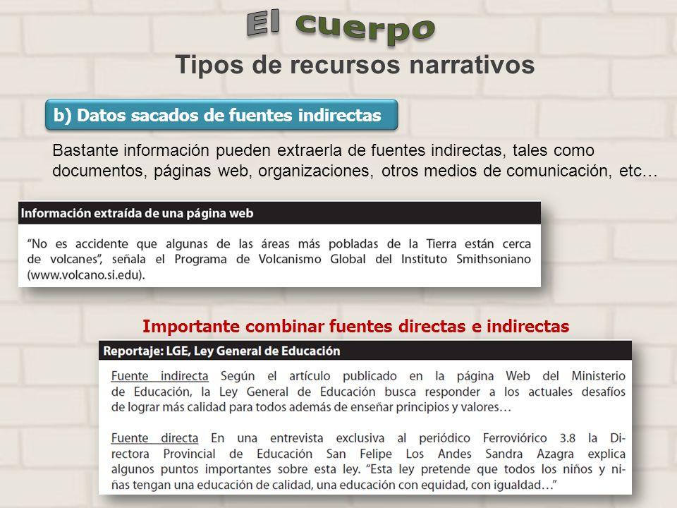 Tipos de recursos narrativos b) Datos sacados de fuentes indirectas Bastante información pueden extraerla de fuentes indirectas, tales como documentos