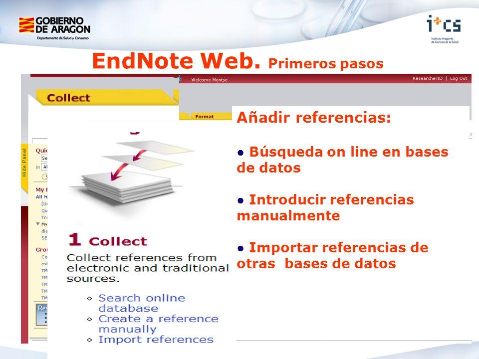 EndNote Web. Primeros pasos Añadir referencias: Búsqueda on line en bases de datos Introducir referencias manualmente Importar referencias de otras ba