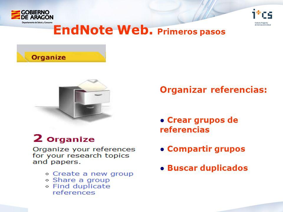 Organizar referencias: Crear grupos de referencias Compartir grupos Buscar duplicados EndNote Web. Primeros pasos
