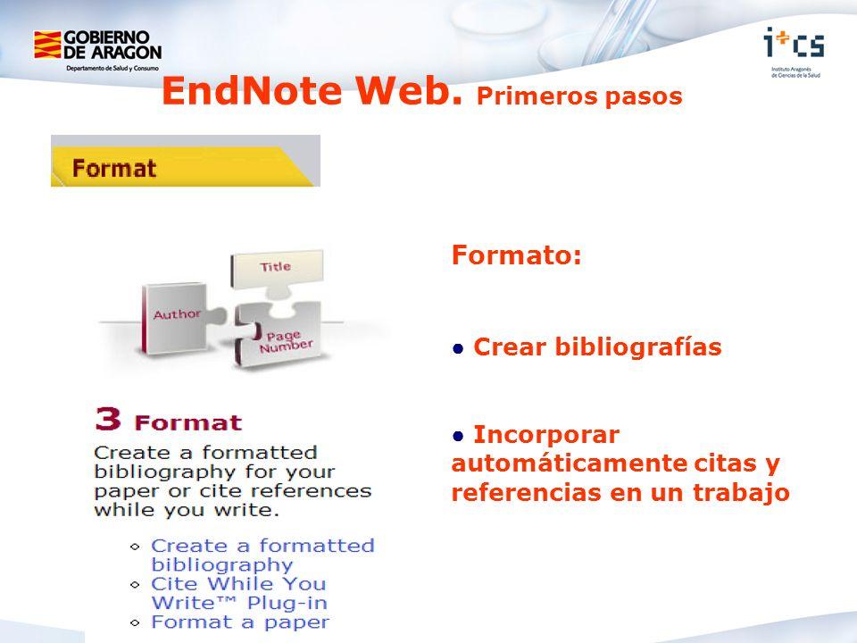 Formato: Crear bibliografías Incorporar automáticamente citas y referencias en un trabajo EndNote Web. Primeros pasos