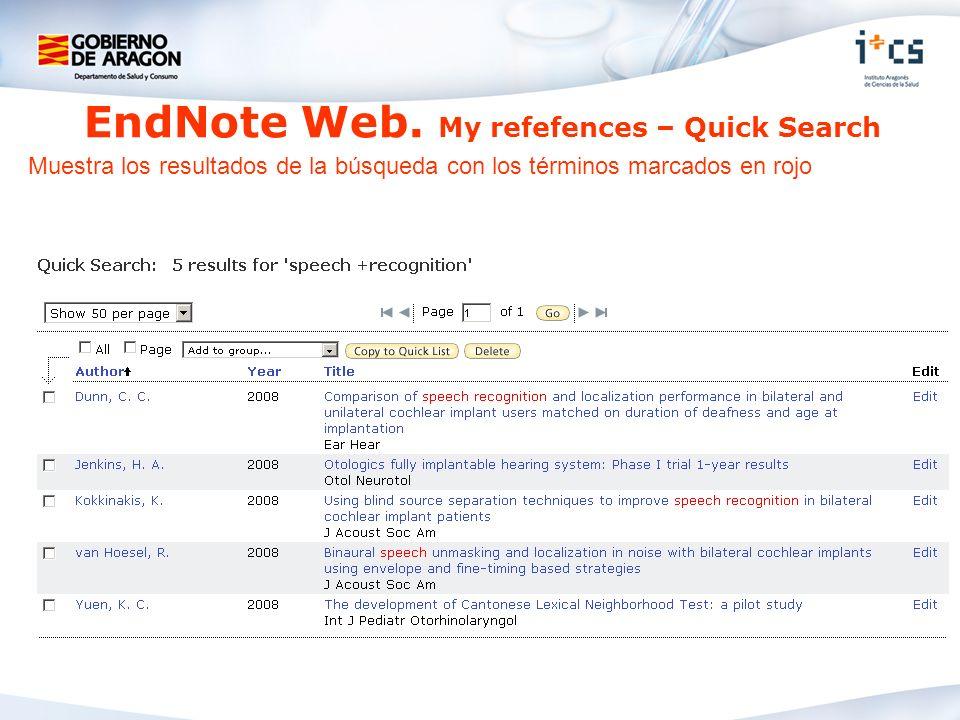 Muestra los resultados de la búsqueda con los términos marcados en rojo