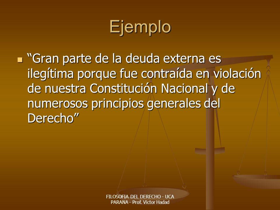 FILOSOFIA DEL DERECHO - UCA PARANA - Prof. Victor Hadad Ejemplo Gran parte de la deuda externa es ilegítima porque fue contraída en violación de nuest