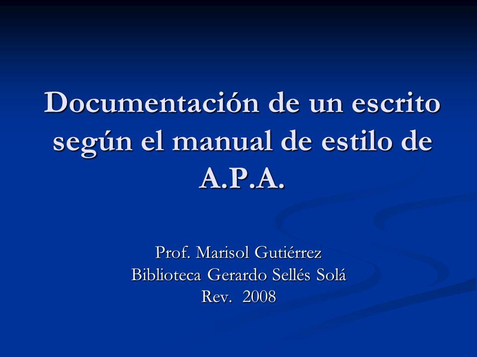 Prof.Marisol Gutiérrez A.P.A Feb 2008 Artículo de revista, un autor impreso Mellers, B.