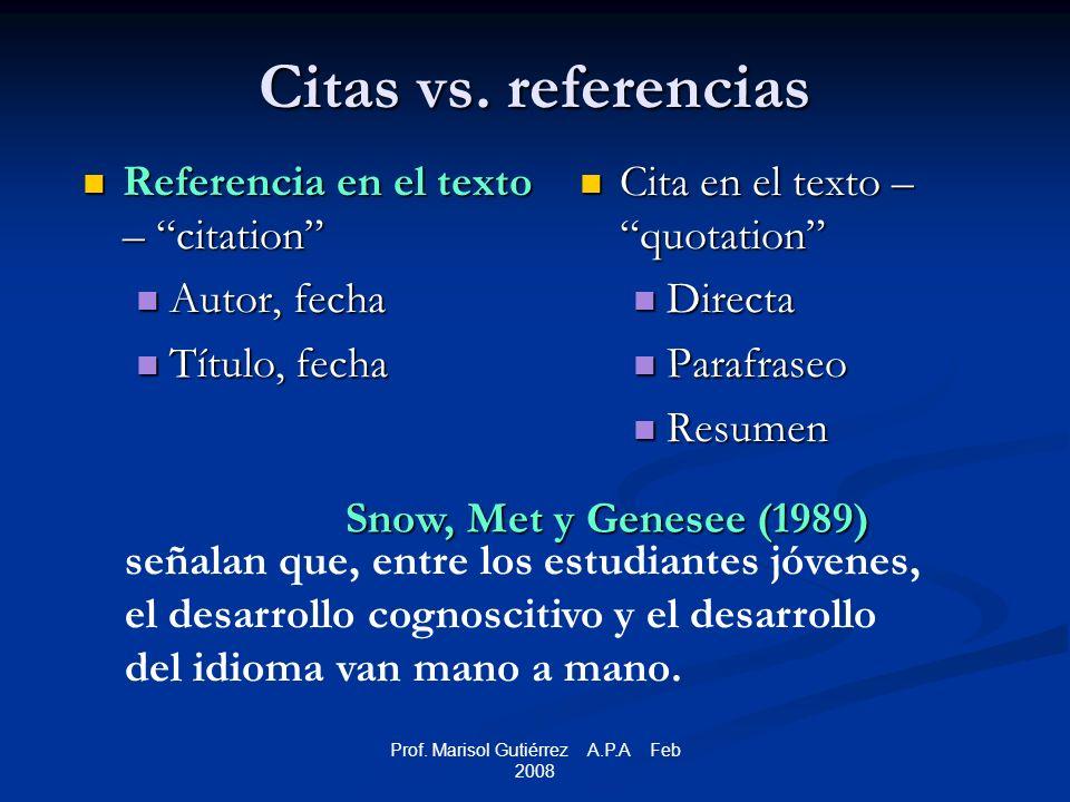 Prof. Marisol Gutiérrez A.P.A Feb 2008 Citas vs.