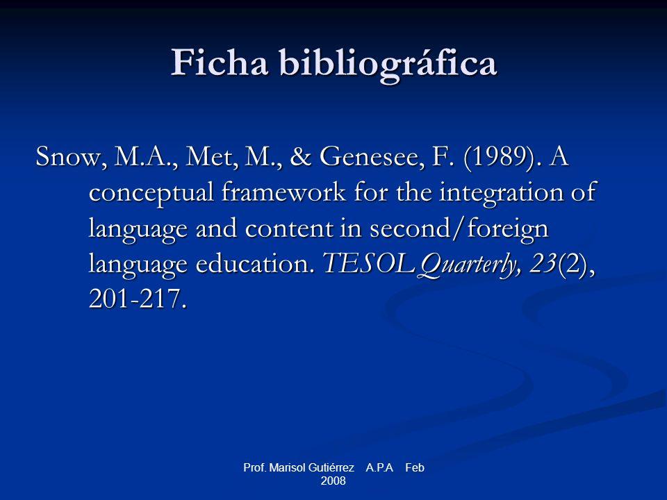 Prof. Marisol Gutiérrez A.P.A Feb 2008 Ficha bibliográfica Snow, M.A., Met, M., & Genesee, F.