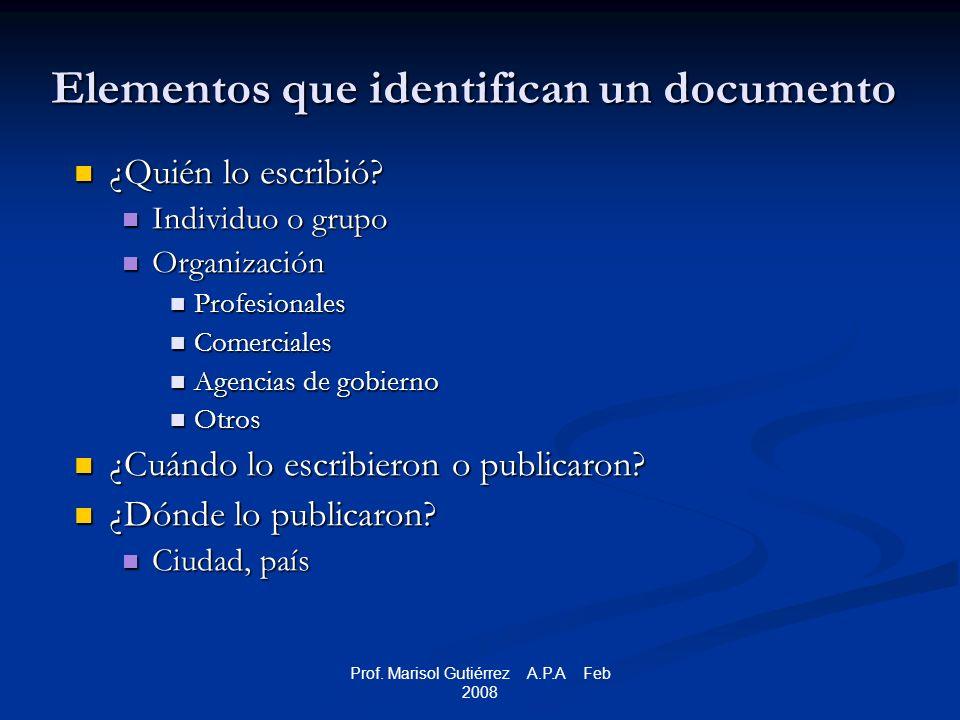 Prof. Marisol Gutiérrez A.P.A Feb 2008 Elementos que identifican un documento ¿Quién lo escribió.