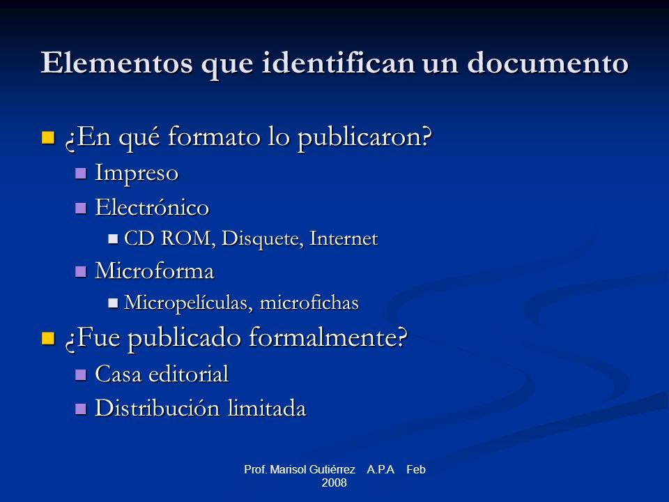 Prof.Marisol Gutiérrez A.P.A Feb 2008 Magacines – revistas populares Quinnet, P.