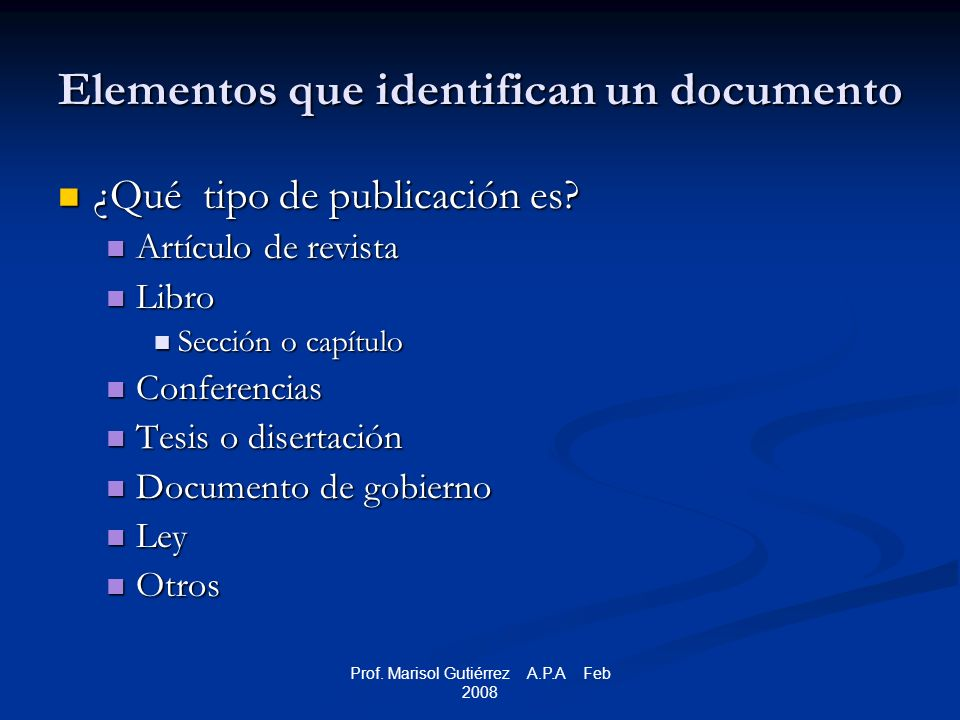 Prof.Marisol Gutiérrez A.P.A Feb 2008 ERIC Report Stecher, B.