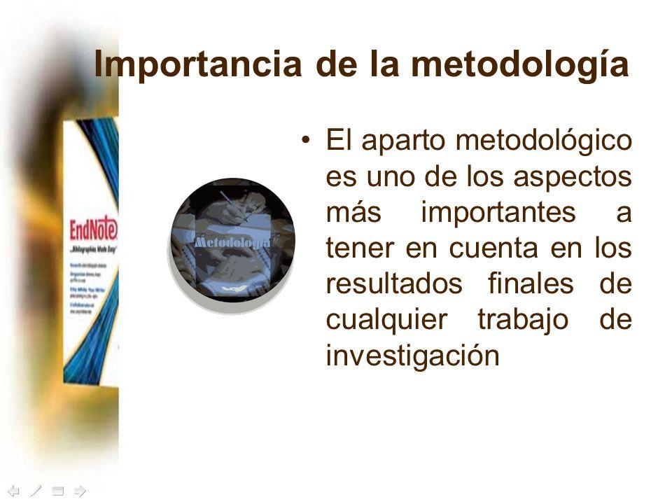 Importancia de la metodología El aparto metodológico es uno de los aspectos más importantes a tener en cuenta en los resultados finales de cualquier t