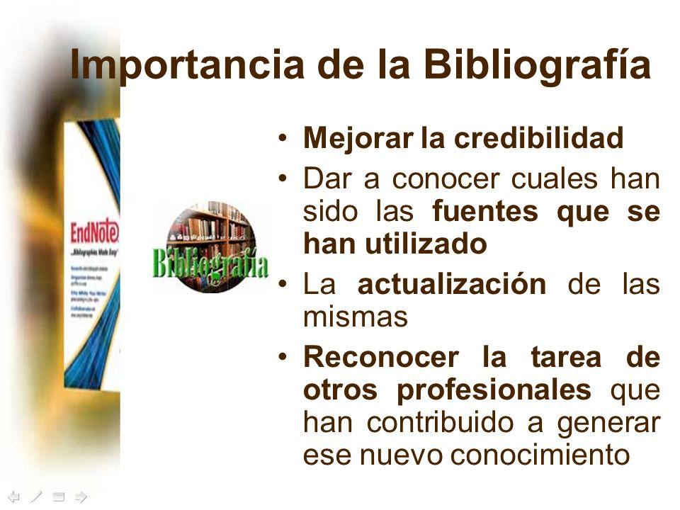 Importancia de la Bibliografía Mejorar la credibilidad Dar a conocer cuales han sido las fuentes que se han utilizado La actualización de las mismas R