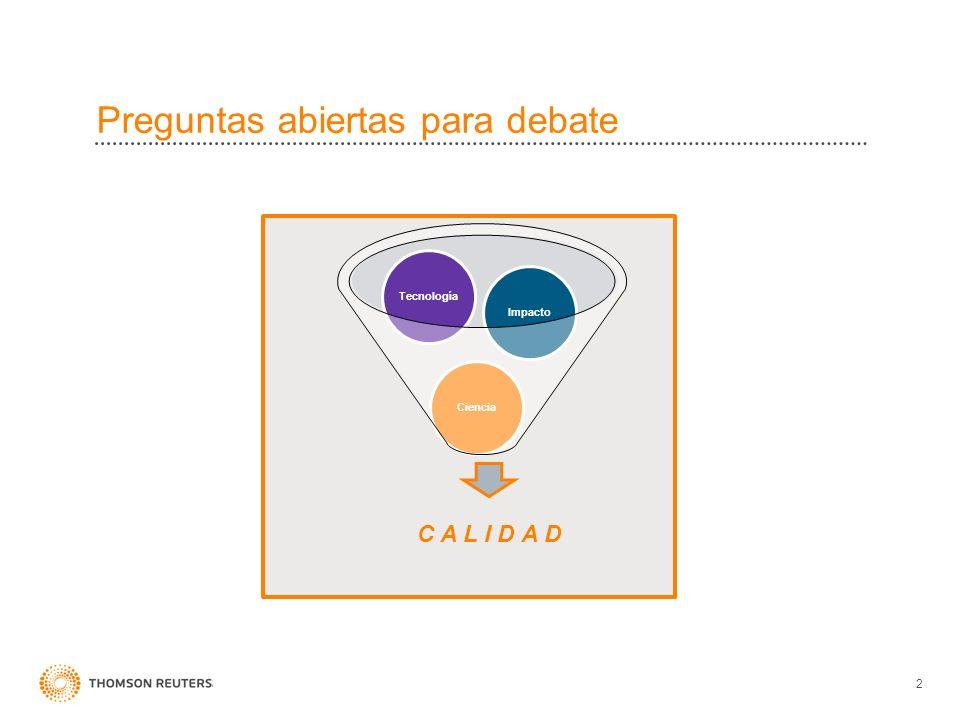 POLÍTICA DE SELECCION DE REVISTAS DE WEB OF SCIENCE Actualmente hay 23 revistas colombianas indexadas en Web of Science Ciencias: 15 Ciencias Sociales: 7 Artes y Humanidades: 3