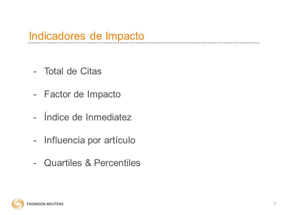 Indicadores de Impacto 7 -Total de Citas -Factor de Impacto -Índice de Inmediatez -Influencia por artículo -Quartiles & Percentiles