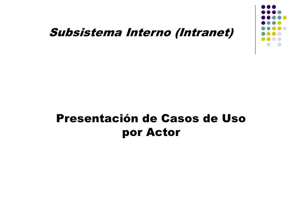 Subsistema Interno (Intranet) Presentación de Casos de Uso por Actor