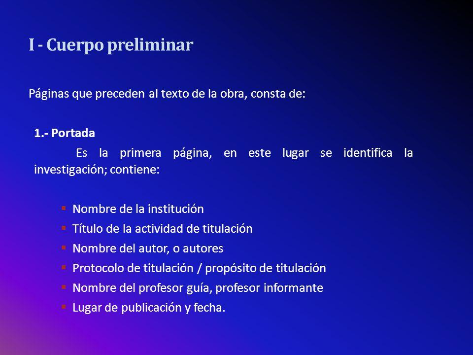 Nombre de la Institución Encabezado de la página y centrado: Universidad de Tarapacá segundo renglón: nombre de la Facultad, nombre de la unidad académica: Escuela, Departamento, Programa.