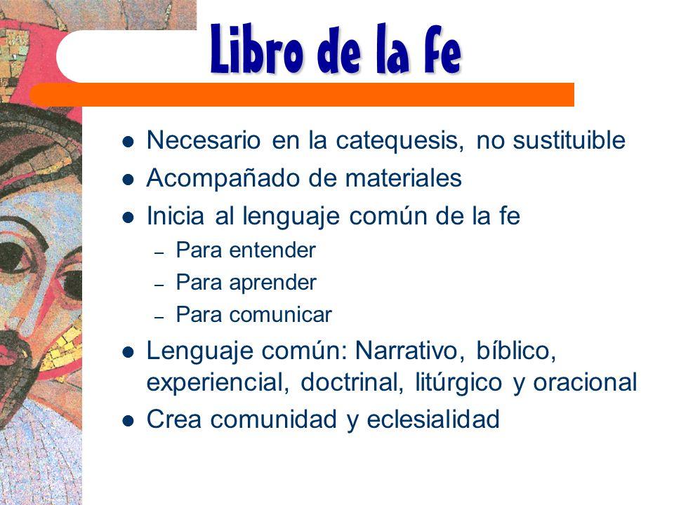 Libro de la fe Necesario en la catequesis, no sustituible Acompañado de materiales Inicia al lenguaje común de la fe – Para entender – Para aprender –
