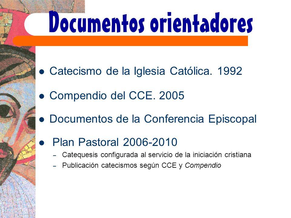 Documentos orientadores Catecismo de la Iglesia Católica. 1992 Compendio del CCE. 2005 Documentos de la Conferencia Episcopal Plan Pastoral 2006-2010