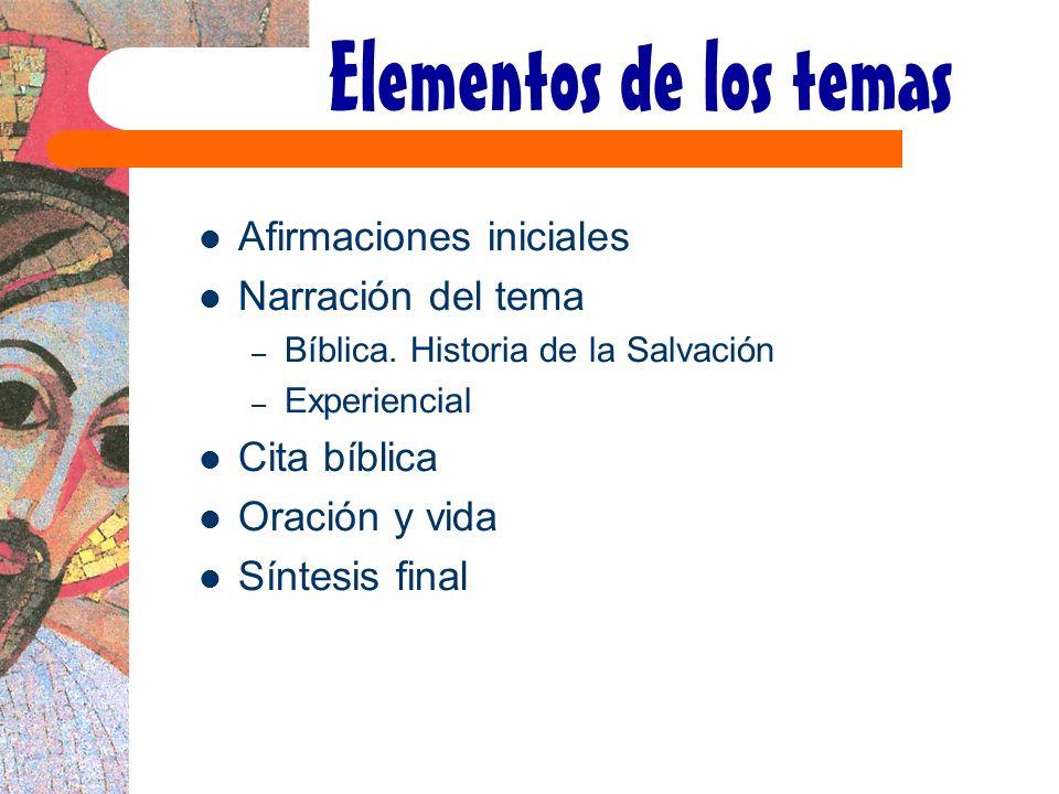 Elementos de los temas Afirmaciones iniciales Narración del tema – Bíblica. Historia de la Salvación – Experiencial Cita bíblica Oración y vida Síntes