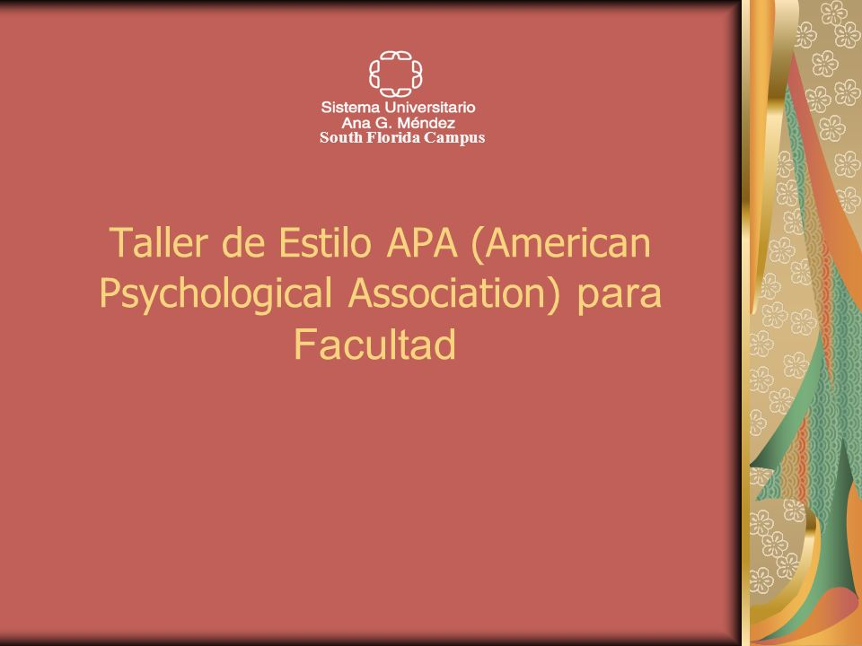 Taller de Estilo APA (American Psychological Association) para Facultad South Florida Campus
