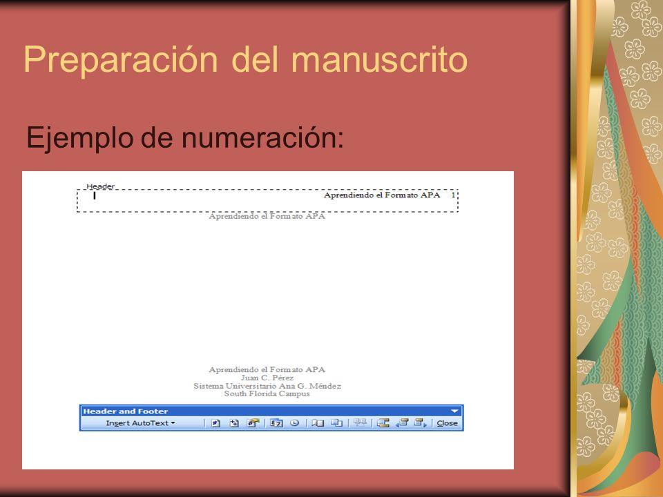 Preparación del manuscrito Ejemplo de numeración: