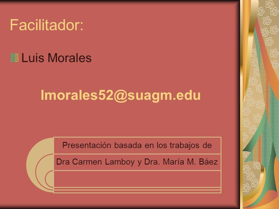 Facilitador: Luis Morales lmorales52@suagm.edu Presentación basada en los trabajos de Dra Carmen Lamboy y Dra. María M. Báez