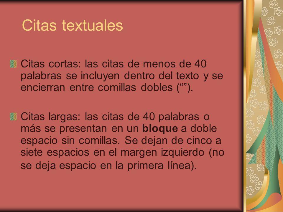 Citas textuales Citas cortas: las citas de menos de 40 palabras se incluyen dentro del texto y se encierran entre comillas dobles (). Citas largas: la