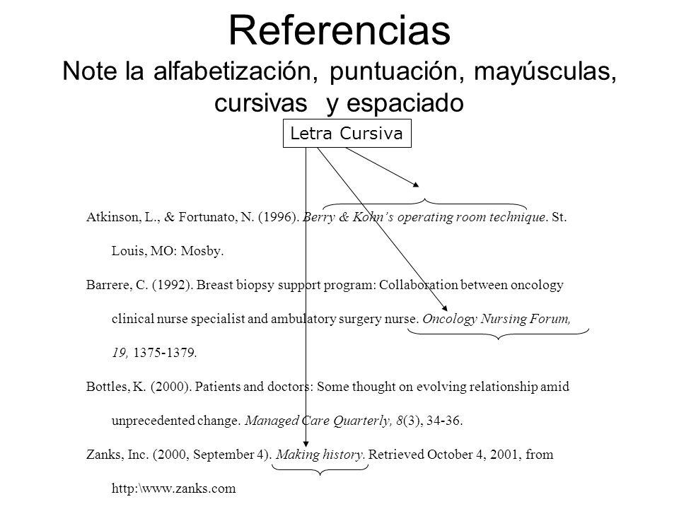 Referencias Note la alfabetización, puntuación, mayúsculas, cursivas y espaciado Atkinson, L., & Fortunato, N. (1996). Berry & Kohns operating room te