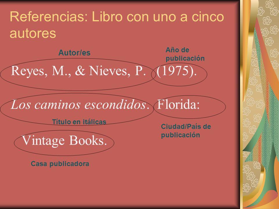 Referencias: Libro con uno a cinco autores Reyes, M., & Nieves, P. (1975). Los caminos escondidos. Florida: Vintage Books. Autor/es Año de publicación