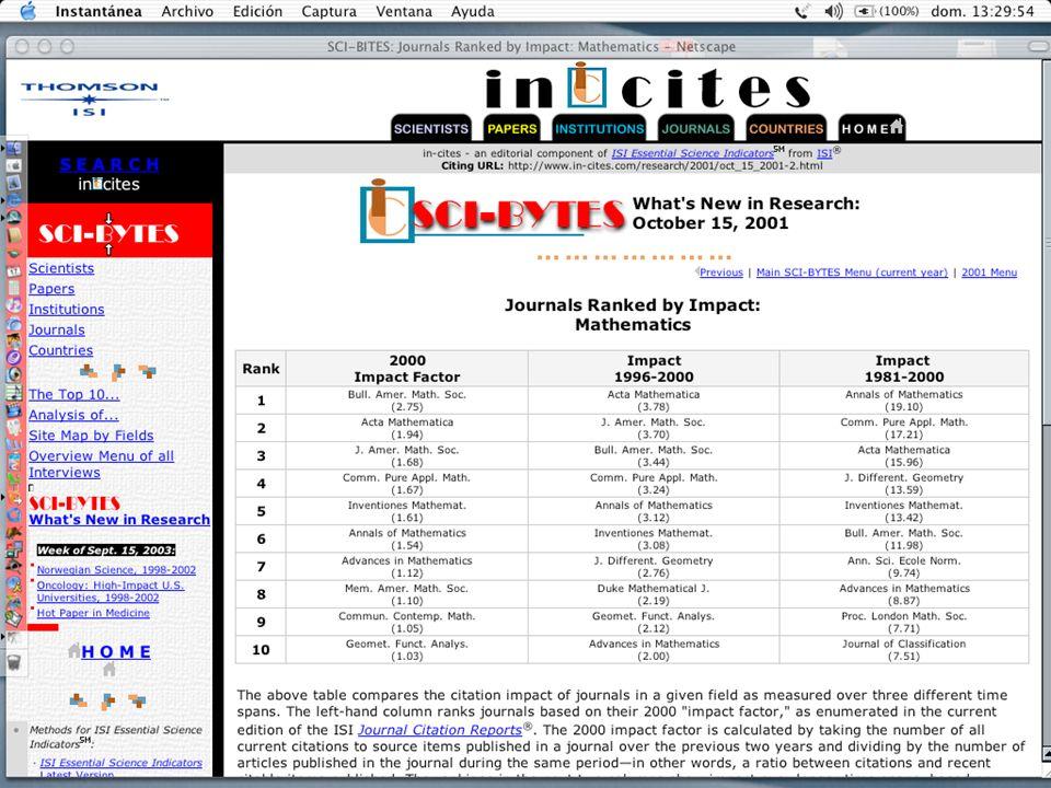 índice de revistas ISI Thomson Factor de impacto y otros índices