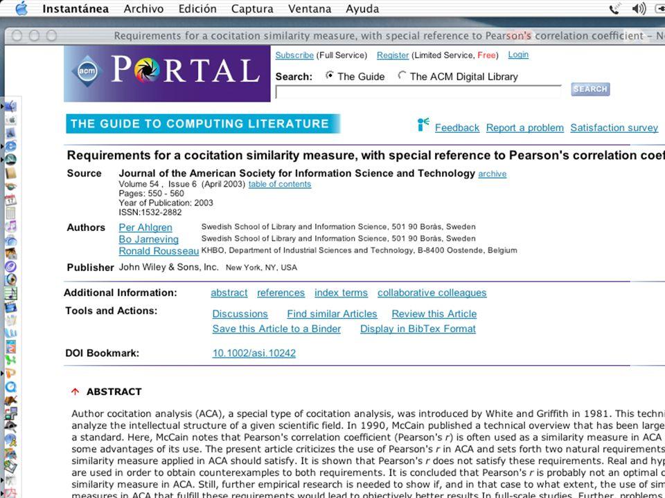 ISI Science Citation Index La semi-vida de muchos artículos supera los 10 años Indices de impacto a 5 años e Indices de inmediatez En campos como Matemáticas no hay revistas con factores de impacto por encima de 3.