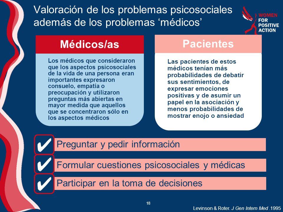 18 Valoración de los problemas psicosociales además de los problemas médicos Los médicos que consideraron que los aspectos psicosociales de la vida de