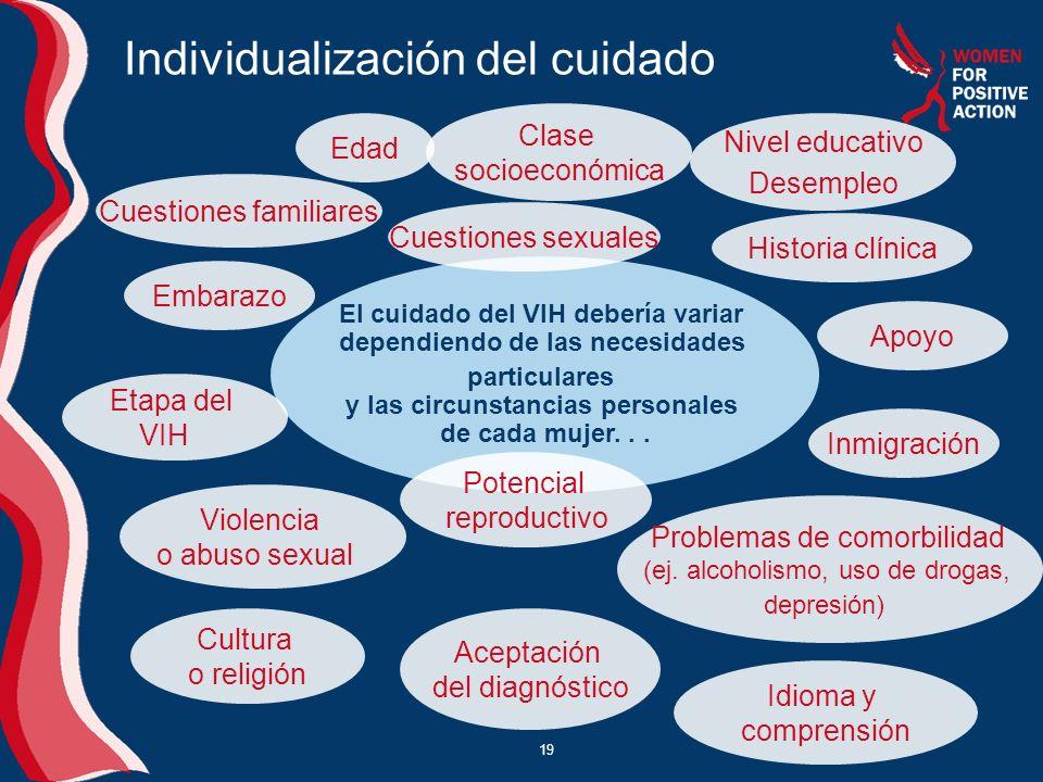 19 Individualización del cuidado El cuidado del VIH debería variar dependiendo de las necesidades particulares y las circunstancias personales de cada