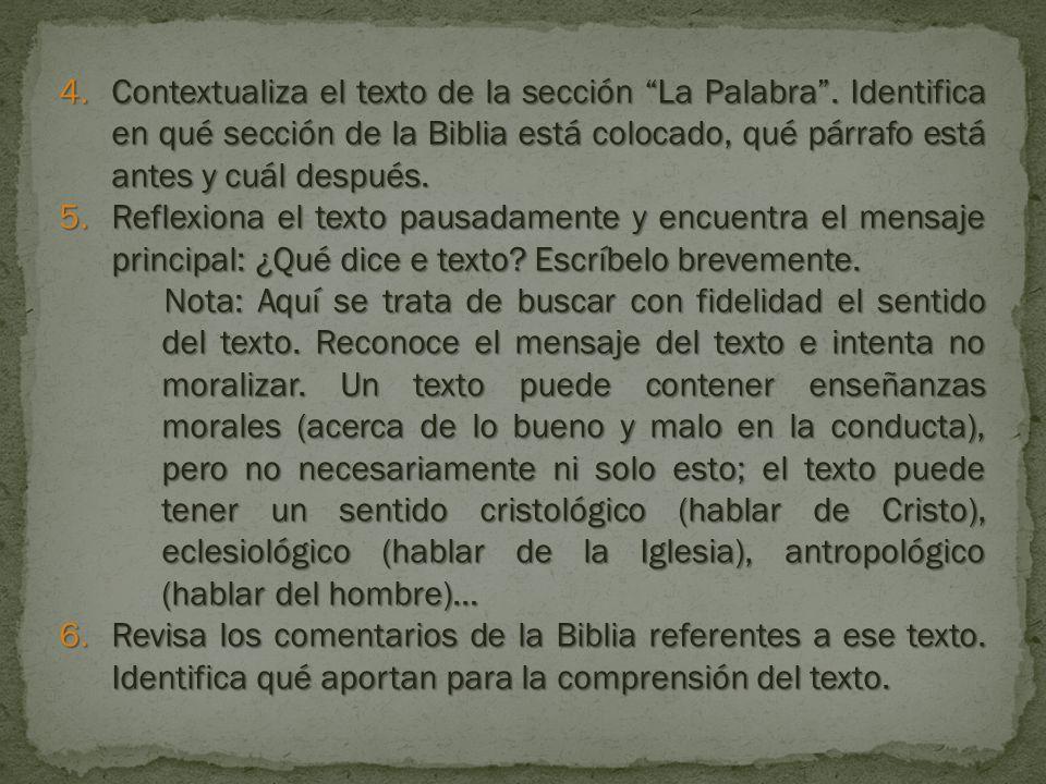 4.Contextualiza el texto de la sección La Palabra.