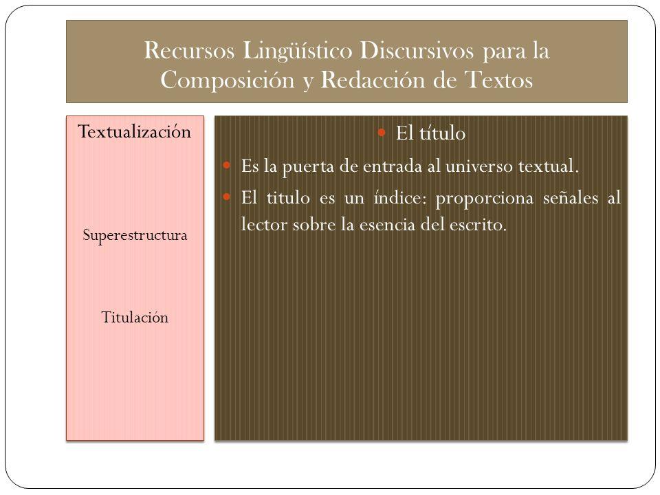 Recursos Lingüístico Discursivos para la Composición y Redacción de Textos Textualización Superestructura Titulación Textualización Superestructura Ti