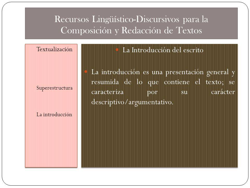 Recursos Lingüístico-Discursivos para la Composición y Redacción de Textos Textualización Superestructura La introducción Textualización Superestructu
