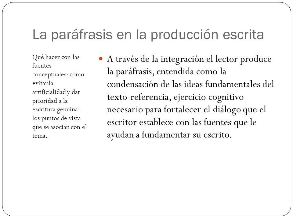 La paráfrasis en la producción escrita Qué hacer con las fuentes conceptuales: cómo evitar la artificialidad y dar prioridad a la escritura genuina: l