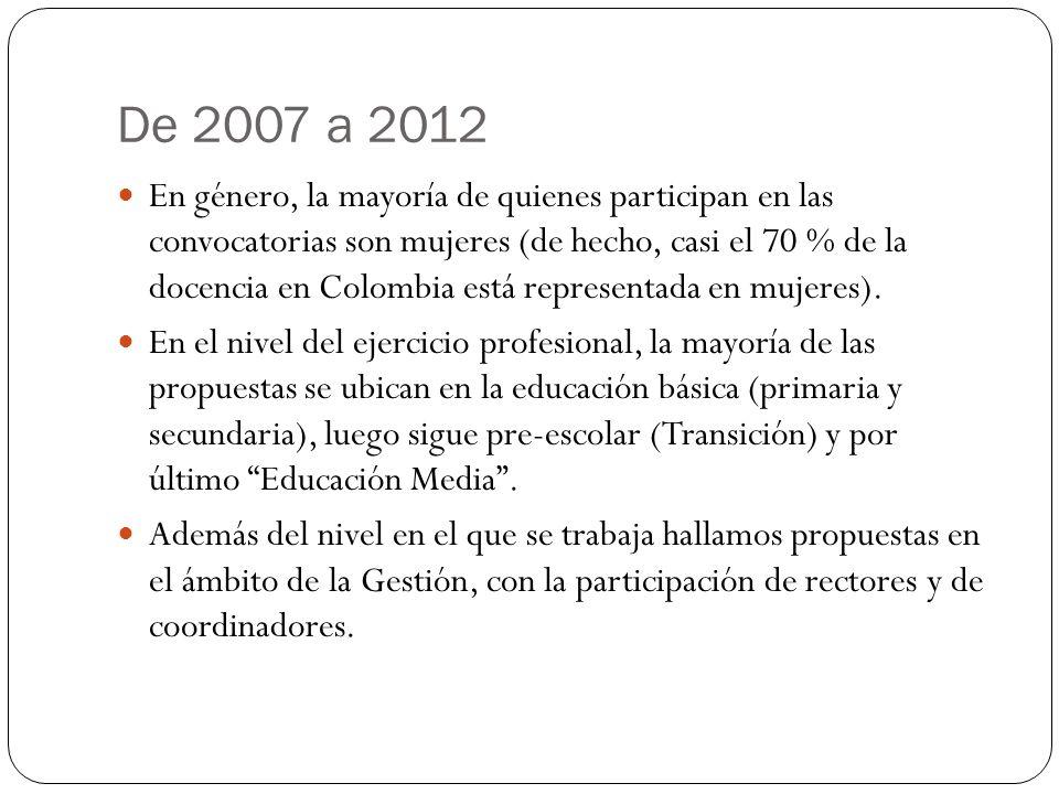 De 2007 a 2012 En género, la mayoría de quienes participan en las convocatorias son mujeres (de hecho, casi el 70 % de la docencia en Colombia está re