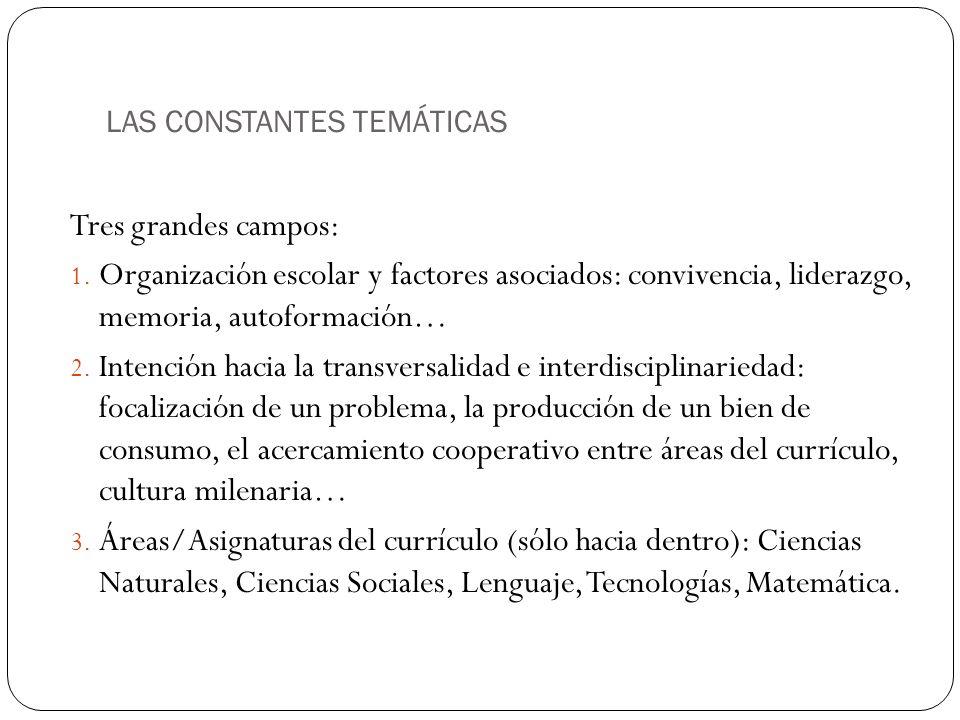 LAS CONSTANTES TEMÁTICAS Tres grandes campos: 1. Organización escolar y factores asociados: convivencia, liderazgo, memoria, autoformación… 2. Intenci