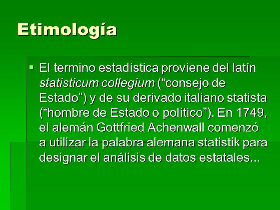 Etimología El termino estadística proviene del latín statisticum collegium (consejo de Estado) y de su derivado italiano statista (hombre de Estado o político).