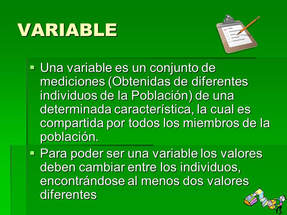 VARIABLE Una variable es un conjunto de mediciones (Obtenidas de diferentes individuos de la Población) de una determinada característica, la cual es compartida por todos los miembros de la población.