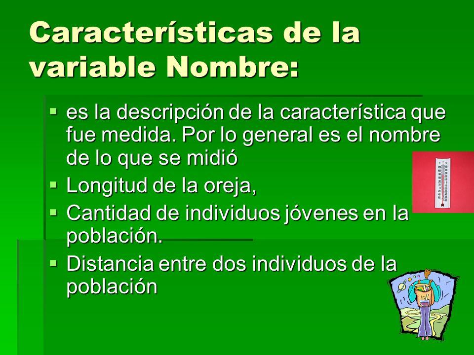 Características de la variable Nombre: es la descripción de la característica que fue medida.