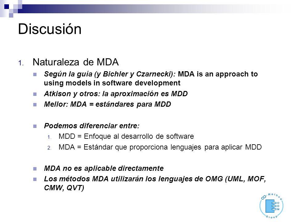 Discusión 1. Naturaleza de MDA Según la guía (y Bichler y Czarnecki): MDA is an approach to using models in software development Atkison y otros: la a