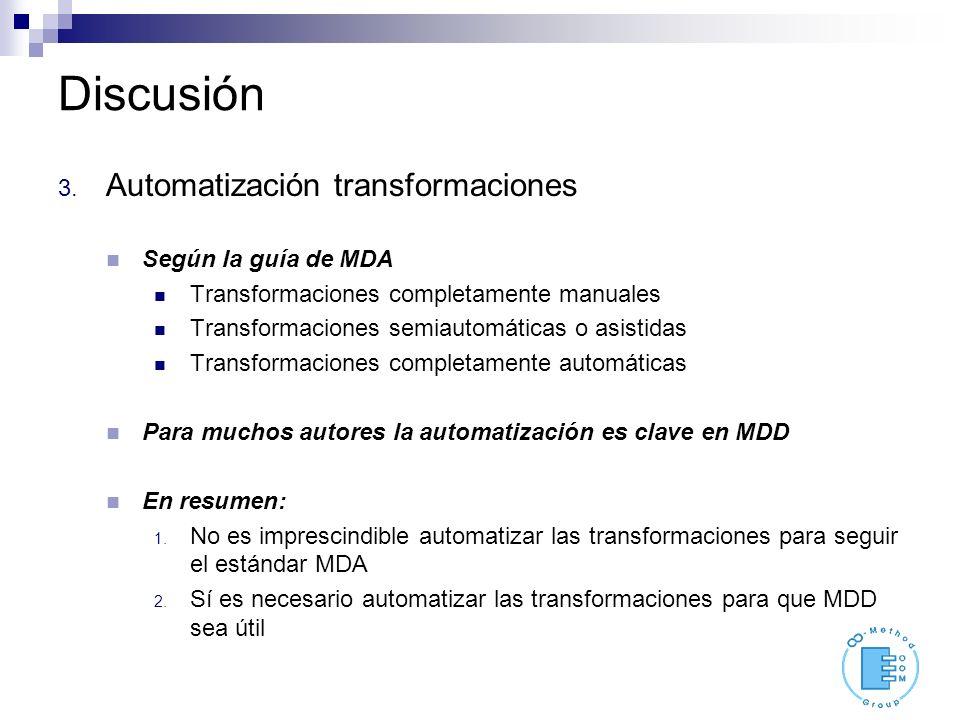 Discusión 3. Automatización transformaciones Según la guía de MDA Transformaciones completamente manuales Transformaciones semiautomáticas o asistidas