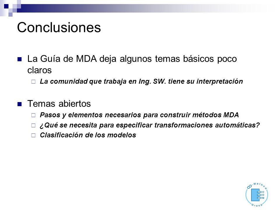 Conclusiones La Guía de MDA deja algunos temas básicos poco claros La comunidad que trabaja en Ing. SW. tiene su interpretación Temas abiertos Pasos y