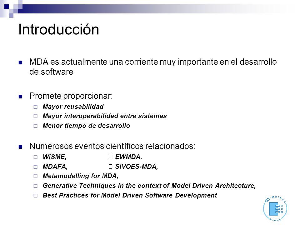 Introducción MDA es actualmente una corriente muy importante en el desarrollo de software Promete proporcionar: Mayor reusabilidad Mayor interoperabil