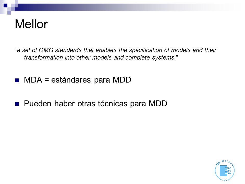Bichler el objetivo de MDA es to define a standardized approach to software development based on models.