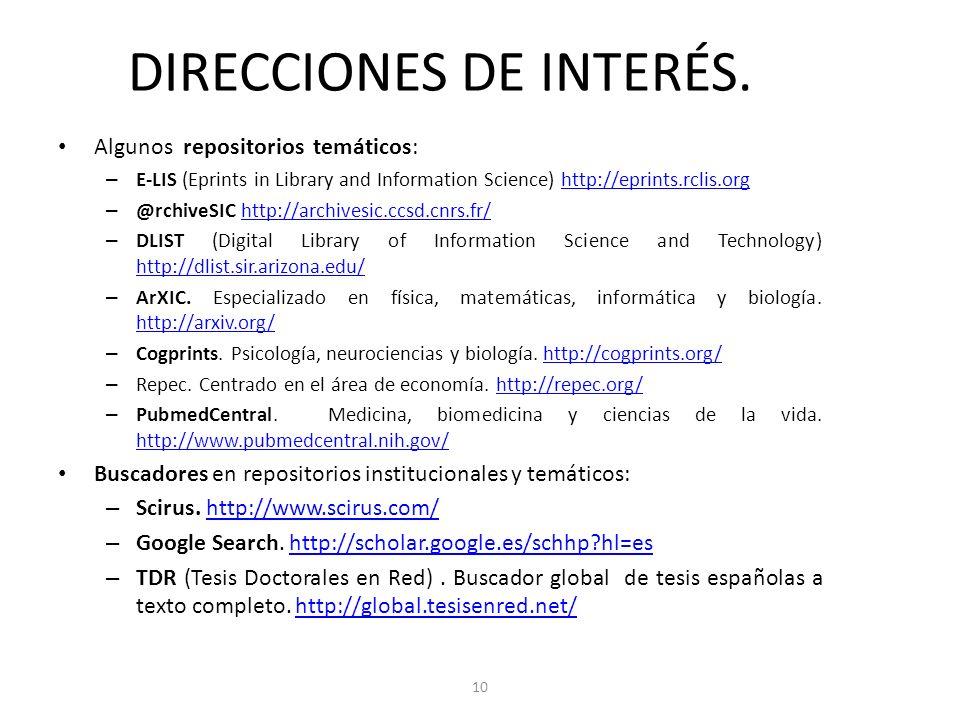 DIRECCIONES DE INTERÉS.