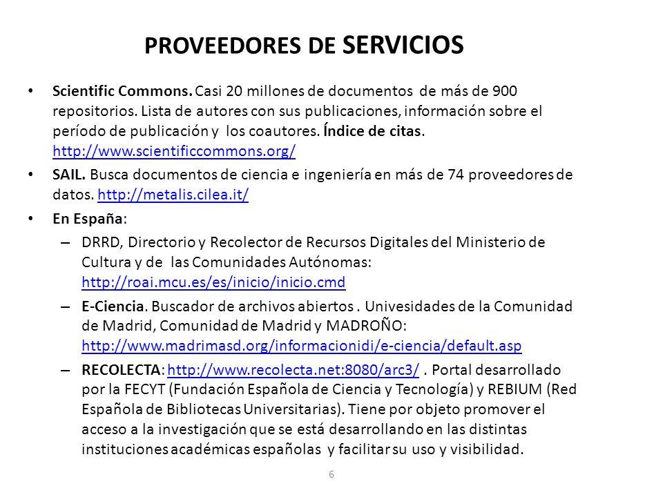 PROVEEDORES DE SERVICIOS Scientific Commons.