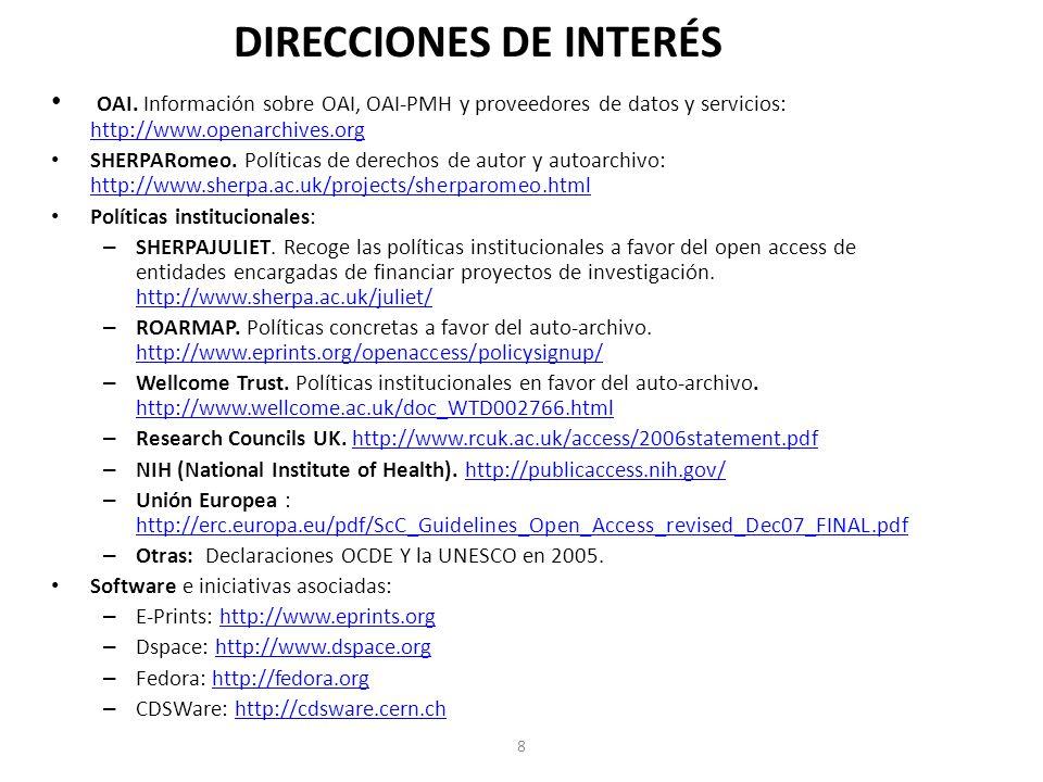 DIRECCIONES DE INTERÉS 8 OAI.
